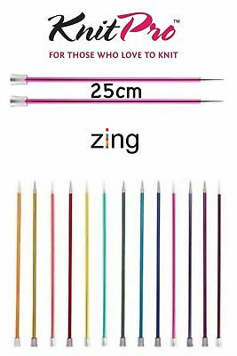 KnitPro Zing Straight / Single Point Knitting Needles - 25cm Length - All Sizes