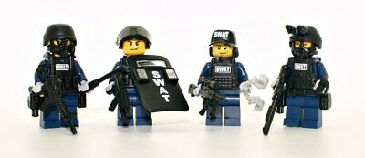 parts R SWAT Riot Control Police Officer Minifigure made with real LEGO