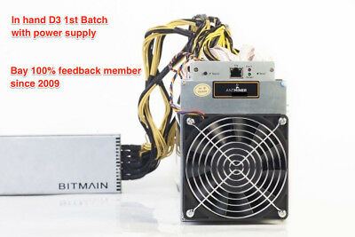 IN HAND AntMiner D3 15GH/s X11 ASIC Dash Miner W/ Power Supply from California