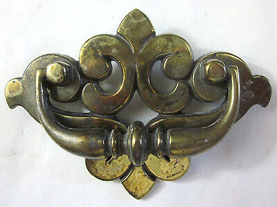 "1 vintage brass plated French Lily drawer drop bail pull 149 handle 1-3/4""C-C"