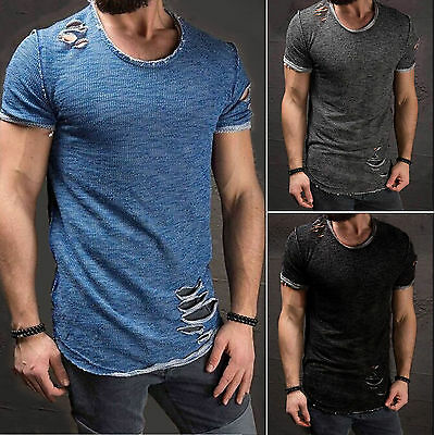 Ripped Men Tee Shirt Slim Fit O Neck Short Sleeve Muscle Casual Tops T-Shirt Tee