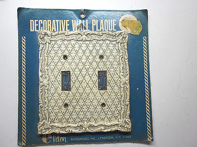 New Vintage Elden Tan/Grayblue Diamond Design 2 Gang Bakelite Switch Plate Cover