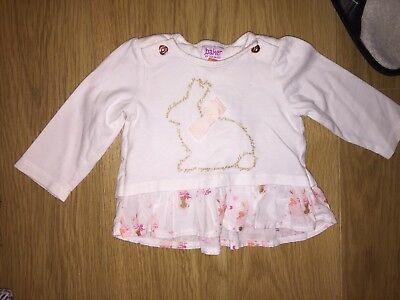 Ted Baker Bunny Top White Long Sleeved Baby Girls 3-6 Months
