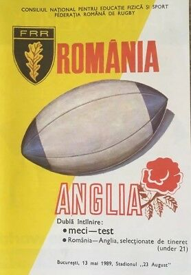 1989 ROMANIA v ENGLAND RUGBY PROGRAMME
