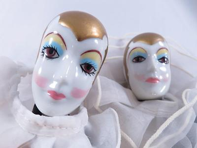 Pair Of Matching Vintage Signed Russ Pierrot Clown Dolls Great Condition