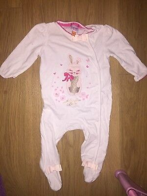 Ted Baker Bunny Rabbit White Sleepsuit Baby Grow 3-6 Months Long Sleeved