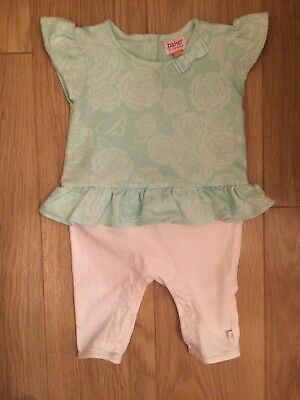 Baby Girls Mint Green And White Romper 0-3 Months Ted Baker