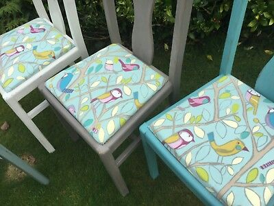 Harlequin Set Of 4 Fabulous Vintage Shabby Chic Dining Chairs In Annie Sloan