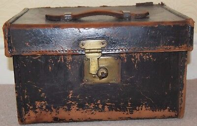 Vintage Leather Hat Box/ TravelTrunk by Authur Webster of Brighouse