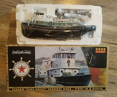 """Texaco """"fire Chief"""" Tugboat Diecast Bank Ertl Collectibles New In Box"""