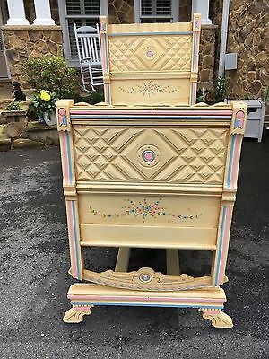 Antique Victorian Baby Platform Cradle Circa 1870 w/Hand painted floral designs