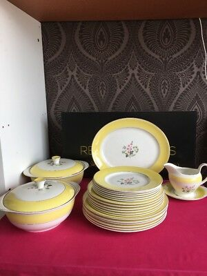 Burleigh Ware Windsor Yellow 6 Place Setting Dinner Service 23 Items Plates Jug