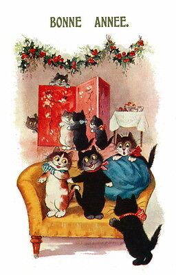 Vintg French New Year~Cute Cats Socialize at New Year's Party~NEW Lge Note Cards