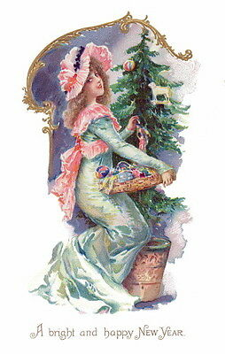 Vintge New Year~Pretty Girl w Hat Taking Ornaments Off Xmas Tree~NEW Note Cards