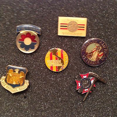 Vintage Military Vietnam Vet COLLECTIBLE PIN LOT of 6 HAT /LAPEL PINS