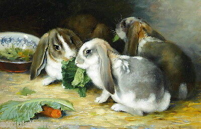 c1880~Cute Lop Eared Bunny Rabbit Rabbits Eating Vegetables~NEW Large Note Cards