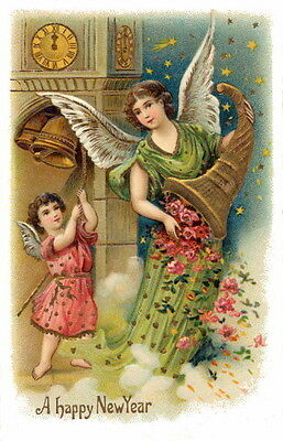 Vintg New Year~Angel w Cornucopia of Roses & Cherub Rings Bell~NEW Lg Note Cards