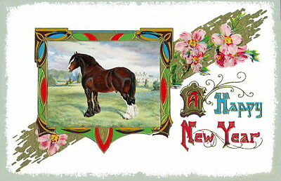 Vintage New Year~Colorful Art Deco~ Clydesdale Draft Horse ~NEW Large Note Cards