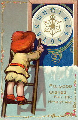 Vintage New Year~Cute Girl w Hat on Ladder to Fix Clock~NEW Large Note Cards