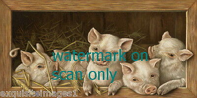 1935~Five Cute Pig Pigs in Wood Framed Barn~ NEW Large Note Cards