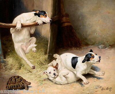 1897 L.Cheviot~Tumbling Fox Terrier Puppy Dog Dogs~Tortoise~NEW Large Note Cards
