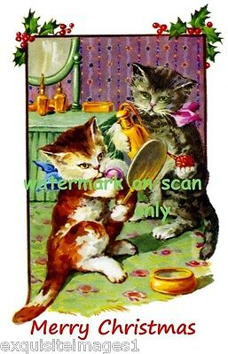 Antique Christmas Image~Kitty Cat Cats Preparing for Party~NEW Large Note Cards
