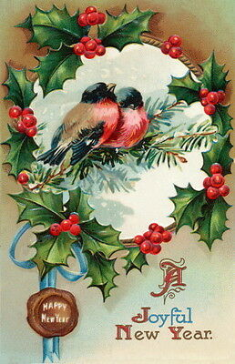 Vintage New Year~Robins Birds on Branch w Holly & Berries~NEW Large Note Cards