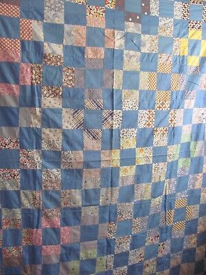 "Cornflower BLUE with FEEDSACKS 9-PATCH QUILT TOP 64""x 72"" FARMHOUSE c1925-40"