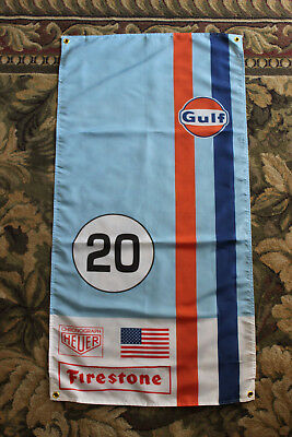 Gulf Racing Flag; 47 x 25 inches