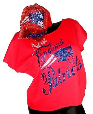 New England Patriots Red Rawedge Terry Lt.Wt. Dolman Tee ~Sequin Cap~Combo Deal!