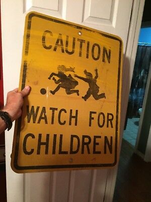 Vintage 1960's Caution Watch For Children Metal Road Sign