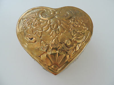 Lovely Vintage  Heart Shaped Brass  Jewelry  Box  From India