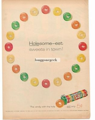 1958 Life Savers Candy Five Flavors Holesome-est art Vtg Print Ad