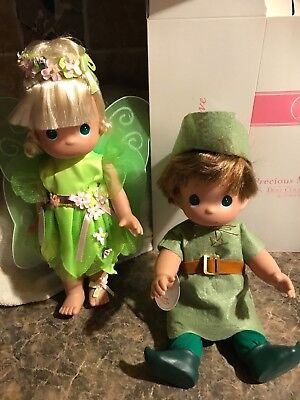 Set Of 2 Tinker Bell And Peter Pan Precious Moments Dolls Sold At Disney World