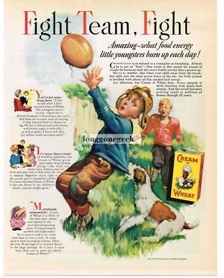1937 Cream Of Wheat Cereal Fight Team Fight Boys Playing Football art Vtg Ad