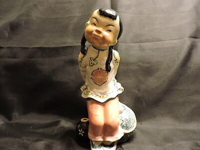 """Occupied Japan Ceramic Figurine- Asian Girl with Vase and Pot Elephant Mark 6.5"""""""