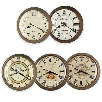 "16"" Large Antique Shabby Chic MDF Wood Dial Metal Wall Clock Convex Glass Lens"