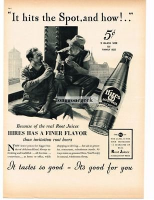 1937 HIRES ROOT BEER High Steel Workers Relaxing Vtg Print Ad