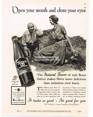1937 HIRES ROOT BEER Woman Giving Hires to Older Man Gardener Vtg Print Ad