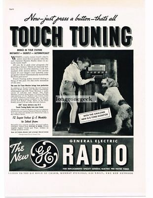1937 G-E GENERAL ELECTRIC Radios Touch Tuning Boy and Dog Vtg Print Ad