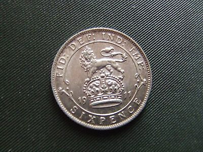 George V.  1911, Silver Sixpence.       Mint Condition.