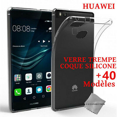 Film VERRE TREMPE HUAWEI P20 P10 P9 P8 Honor 10 9 8 Mate 20 10 + Coque Silicone