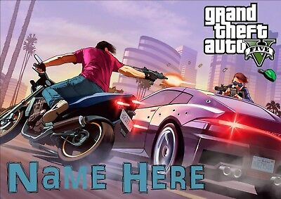 Grand Theft Auto 5 Personalised Poster A4 Laminated, Add Any Name