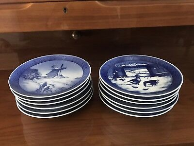 Lot of 12 ROYAL COPENHAGEN Porcelain Christmas Plates - mint condition