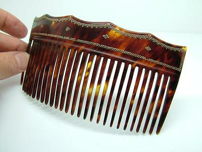 Antique Rare Georgian Carved Faux Tortoiseshell & Gold Pique Inlay Hair Comb