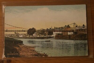 c1910 River Nith Suspension Bridge Dumfries Postcard