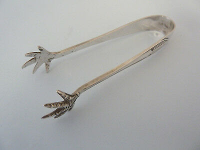 Solid SILVER Deco CLAW Sugar / Ice Tongs Sheffield 1947. Cooper Bros
