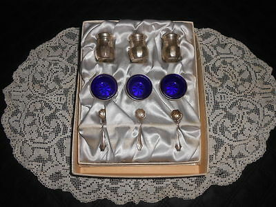 Vintage Set of Mini SALTS SPOONS Cobalt Blue Glass Sterling