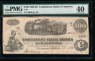 AC T-40 $100 1862 Confederate CSA PMG 40 .. train note!