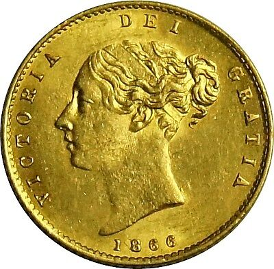 1866 Victoria Gold Half-Sovereign. Virtually Uncirculated. Spink Values £ 1050